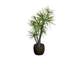 Pot landscape plant 3d model