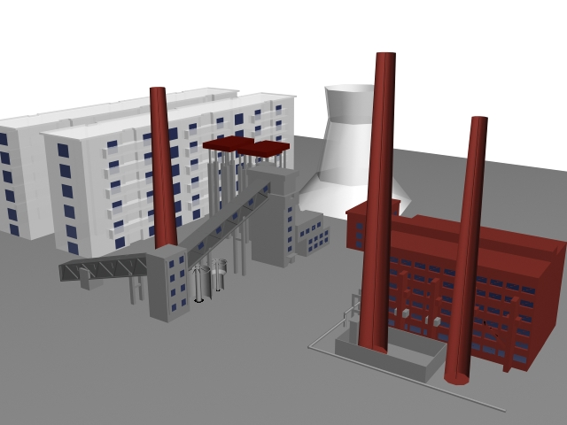 Industrial factory building 3d model