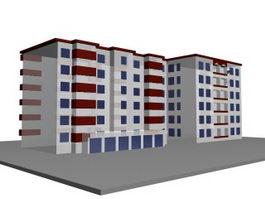 Multi-story residential building 3d model