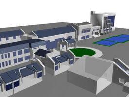 Factory architectural complex 3d model