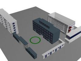 School buildings and sports fields 3d model