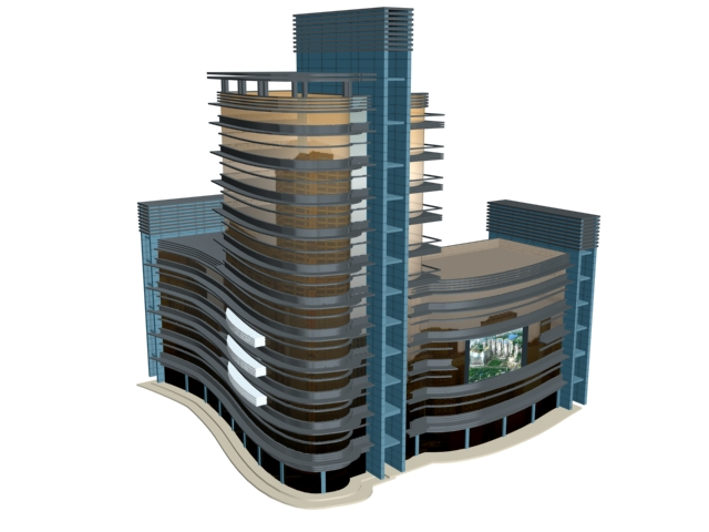 City commercial building 3d model 3dsmax files free for Build house online 3d free
