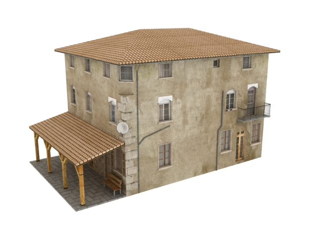 Old residential building 3d model 3dsmax files free for Model house building materials