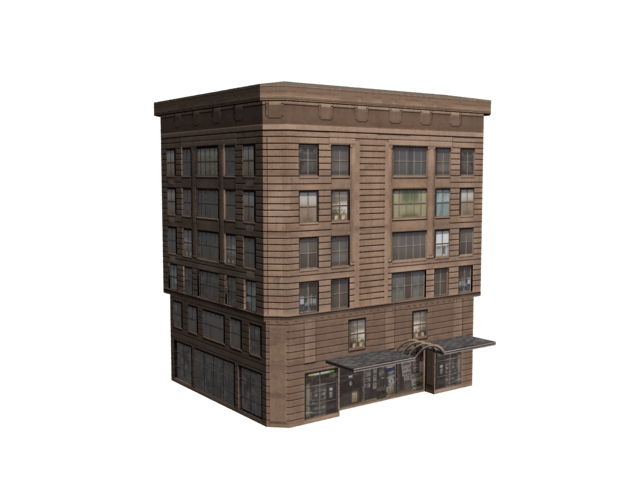 Old hotel building 3d model 3dsmax files free download for Build house online 3d free