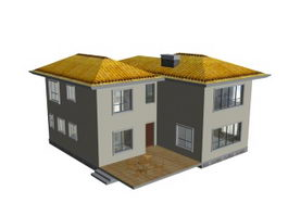 Luxury villa building 3d model