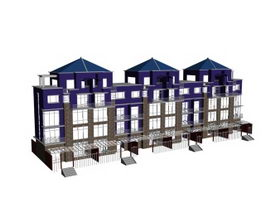 Townhouses building 3d model