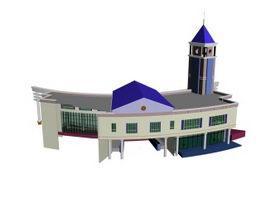 Railway station building 3d model