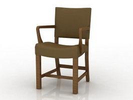 Wooden dining armchair 3d model