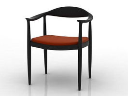 Elbow chair wood dining chair 3d model