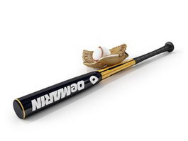 Baseball bat and baseball sets 3d model