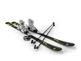 Snow ski, ski poles and goggles 3d model