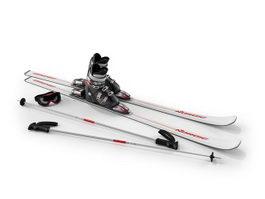 Ski boots, ski pole and goggle 3d model