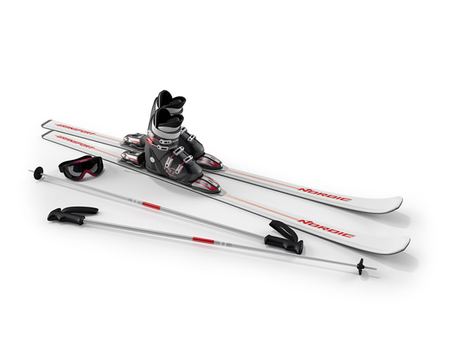 Ski boots, ski pole and goggle 3d rendering