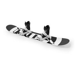 Snowboard and boots 3d model