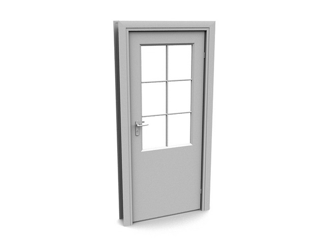 Office door with glass window 3d model 3dsmax files free for Office doors with windows