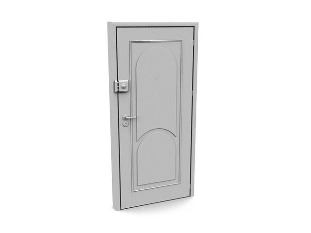 Exterior Door With Security Lock 3D Model