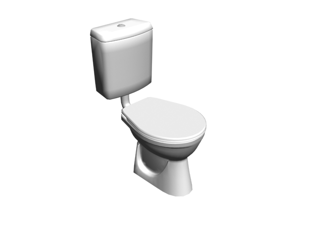 Ceramic toilet with tank 3d model