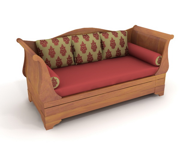Wooden sofa bed 3d model 3dsmax files free download for Sofa bed 3d model