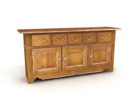 Antique furniture side cabinet 3d model