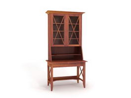 Desk secretaire with bookcase 3d model