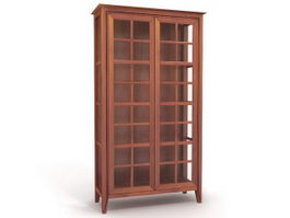 Wood display cabinet 3d model