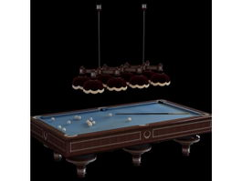 Billiard table and droplight 3d model