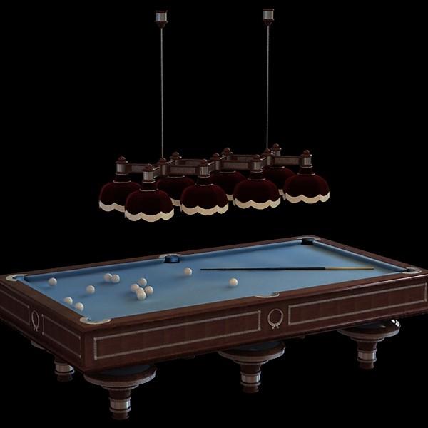 Billiard Table And Droplight 3d Model 3dsmax Files Free