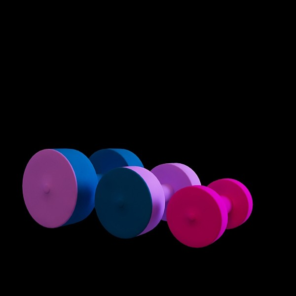 Gym dumbbells set 3d rendering