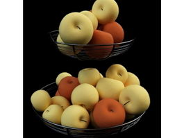 Two basket of pears 3d model