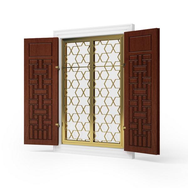Wood Window With Metal Grid 3d Model 3dsmax Files Free