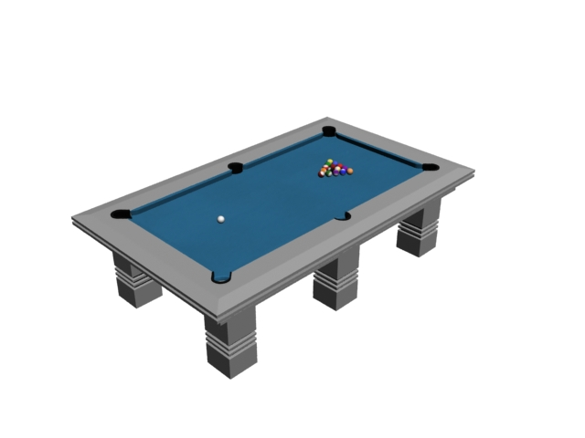 Billiard game pool table 3d rendering