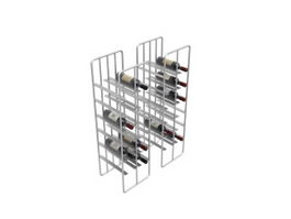 Metal wine shelf and red wine 3d model