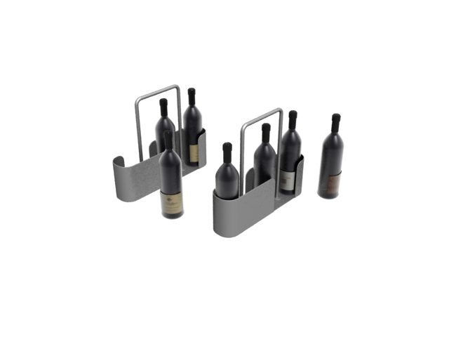 Portable wine rack and red wines 3d rendering