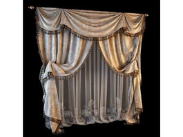 Plush velvet curtains 3d model