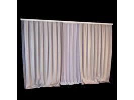 Floor-length rod pocket curtain 3d model