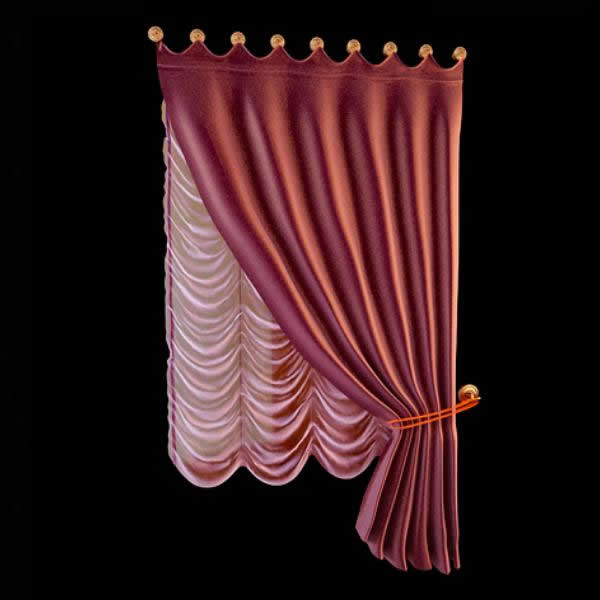 Balloon shade curtain with scarf swag valance 3d model 3dsmax files ...