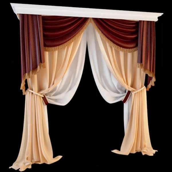 Double Swag Curtain With Valance 3d Model 3dsmax Files