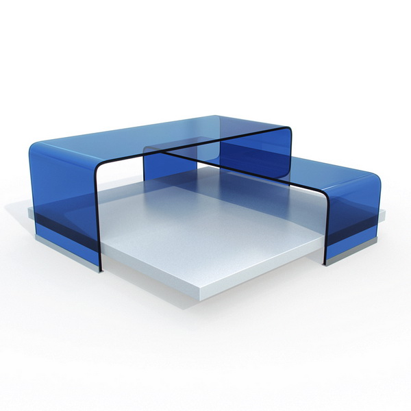 Modern Blue Glass Coffee Table 3d Model