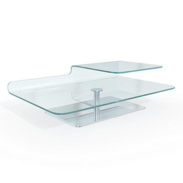 Tempered bent glass coffee table 3d model 3dsmax maya for Tempered glass coffee table