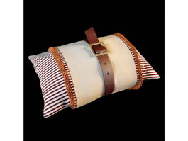 Pillow and leather belt 3d model