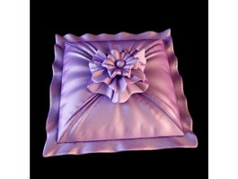 Rose ruffle embroidery cushion 3d model