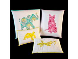 Fabric animal print pillows 3d model