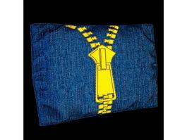 Printed jean fabric pillow 3d model