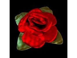 Fabric rose shaped pillow 3d model