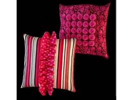 Decorative silk throw pillows 3d model