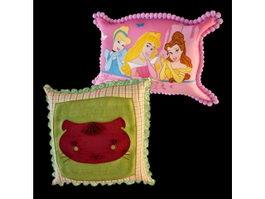 Kids cartoon pillows 3d model