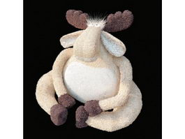 Plush toy white cartoon sheep 3d model