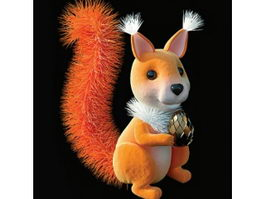 Cute plush toys squirrel belka 3d model