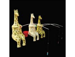 Fishing giraffe toy 3d model