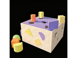 Colorful wooden toy bricks 3d model